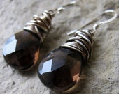Glamour Earrings - Genuine Faceted Smokey Quartz Stones, Wire Wrapped Sterling Silver, Sterling Ear wires