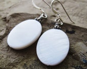 Oval Mother Of Pearl Earrings - sterling beads, sterling ear wires