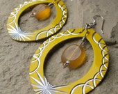 Sunburst Earrings -  large 2 3/4 inches long, Czech Glass dangles in Etched Metal, Sterling Silver Ear wires
