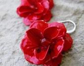 Romantic Red Rose Earrings - Carnelian Stone centers, Sterling Silver Ear Wires