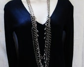 Kendi Remix Necklace -  5 chain layering necklaces - double ended clasps - wear as belt or anklet or bracelet too