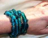 TWO  Strands of Chunky Intense Turquoise India Glass  Handmade Bracelets