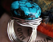 Intense Turquoise Puffed Oval Stone Wire Wrapped Handmade Ring in Silver or Gold and Custom Size