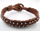 Reserved for Jamie Leather Braided Bracelet with Sterling Silver Beads