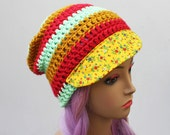 ON SALE- Womens Beanie Hat  with Fabric Bill