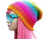Rainbow Slouch Beanie Mens Womens Pride