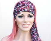 Sheer Gypsy/Hippe Inspired Headwrap- Magenta and Blues Floral