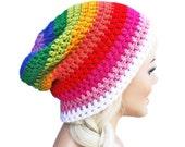Crochet Slouch Rainbow Beanie Pride Mens Womens