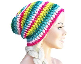 Crochet Slouch Beanie Turquoise Pink Yellow Blue Striped