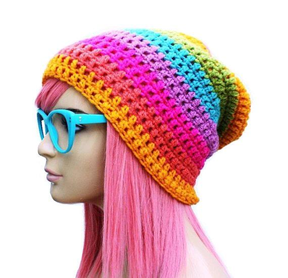 Rainbow Beanie - Crochet Slouch- Ultimate Slacker Striped Beanie Hat- Pride