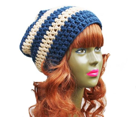 Crochet Slouch Beanie- Ultimate Slacker- Beige and Navy