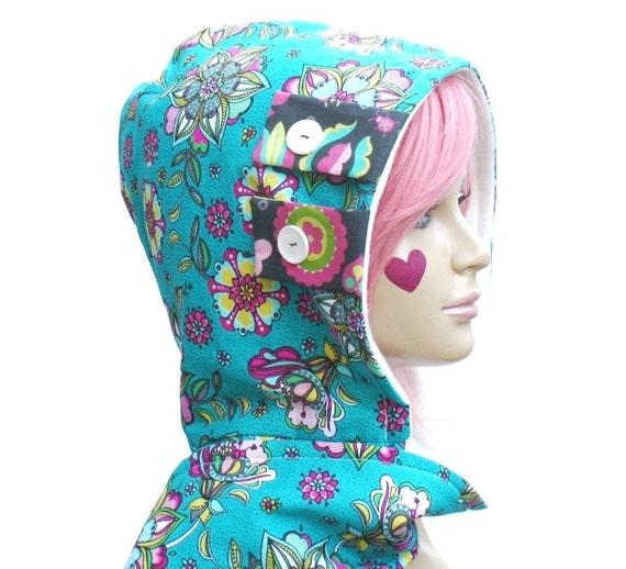 Scoodie Hooded Scarf- Turquoise Floral
