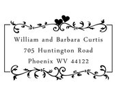 Address Stamp  - Double Hearts With Laurel Frame - William and Barbara Design