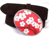 Belt Buckle Red Cherry Blossoms