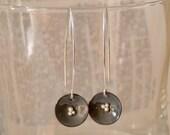 Grey Enamel  Earrings Lily Pads
