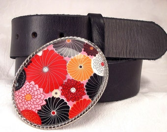 Womans Belt Buckle Flower Petals