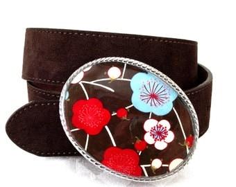 Belt Buckle Chocolate Cherry Blossoms