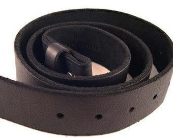 Black Leather Belt Strap 1.5 Inch Width