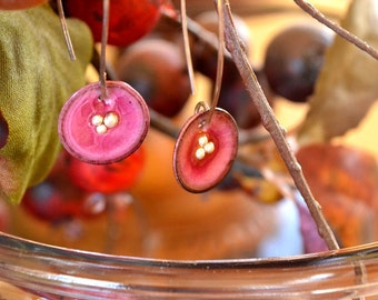 Berry Pink Flower Enamel  Earrings