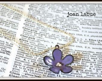 Purple Lavender Flower Enamel Necklace Bridesmaid Gift