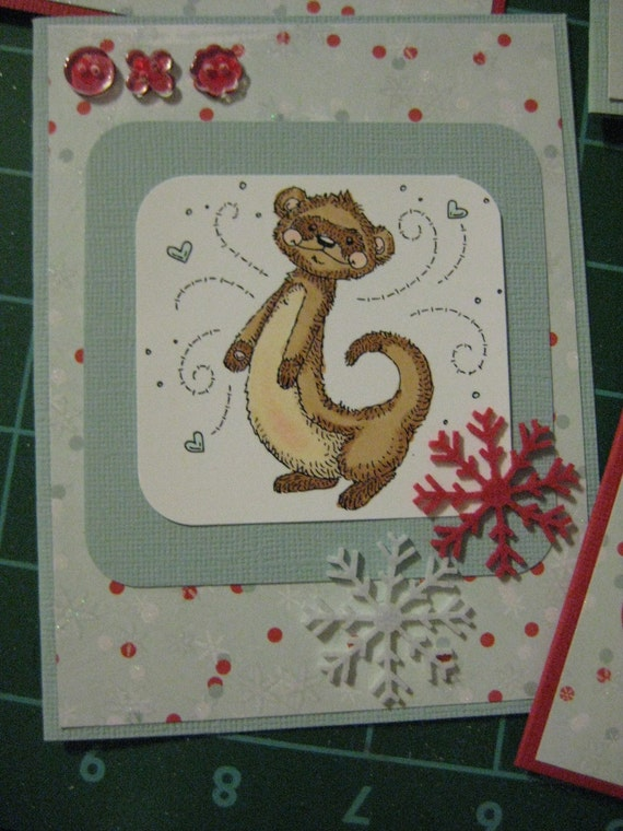 Holiday Ferret Cards, Set of 5 with envelopes, Made to Order