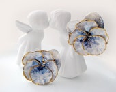 REDUCED - Sweet Wild Pansy blue flower Ceramic clip on earrings