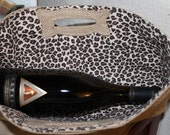 Not Your Usual Wine Bag Monogrammed Burlap with Leopard