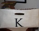 Burlap Wine Bag  Made Ready to Ship  Monogrammed K