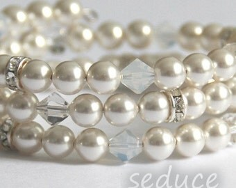 Bridal Swarovski pearls and crystals bracelet on 3 strand memory wire