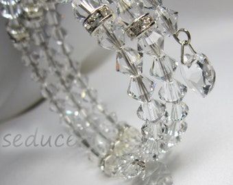 Bridal Swarovski Hearts and crystals bracelet on 3 strand memory wire