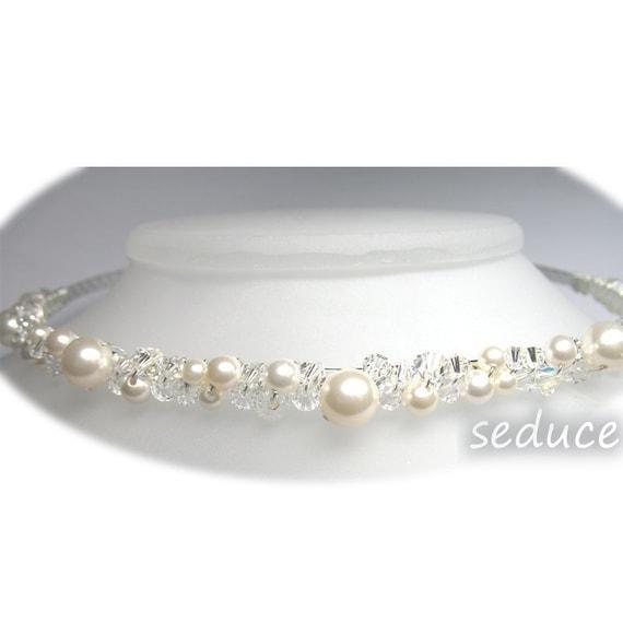 Bridal Swarovski Crystal Pearl Tiara Headband