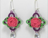 Tatted Rose Earrings