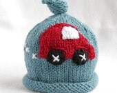Baby boy knit hat with car applique.  Sizes newborn- big kid available