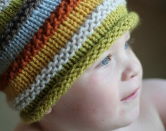 Boy's knit hat with colourful stripes.  Size 18 months to 4 years. Choose colour, photo prop, elf cap