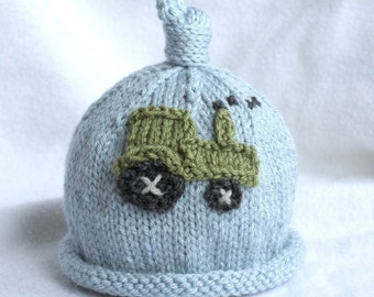 baby boy knit hat with tractor applique.  sizes newborn-big kid available.