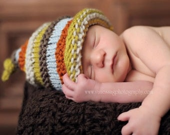 Boy's knit hat with colourful stripes.  Size newborn or infant. Photo prop Coming home Choose Color