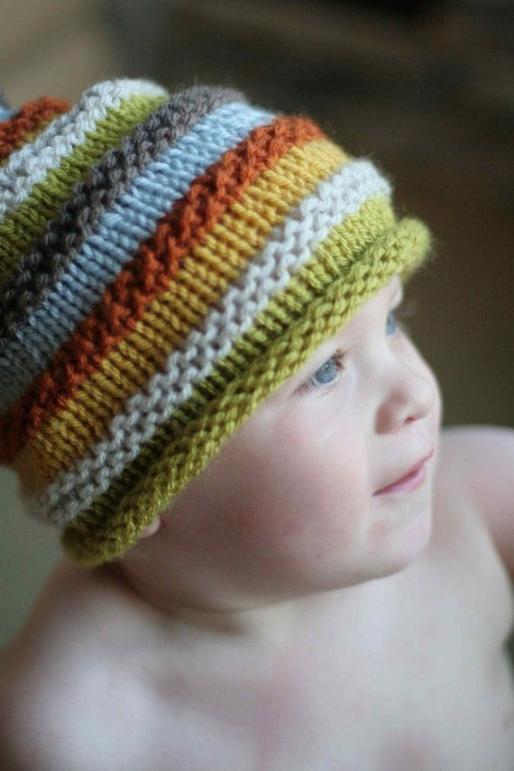 Boys knit hat with colourful stripes. Size 18 months to
