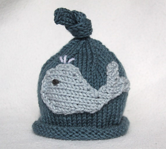 Baby boy knit hat with whale applique.  Size newborn to big kid available.