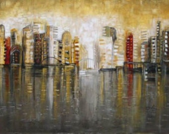 earth tones cityscape modern landscape skyline Made to order