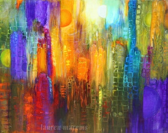 Abstract cityscape painting, modern art ,contemporary sklyline, made to order, marems