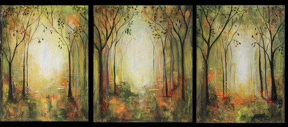 Original painting Modern forest landscape 3 canvases triptych Marems number 23 Made to order