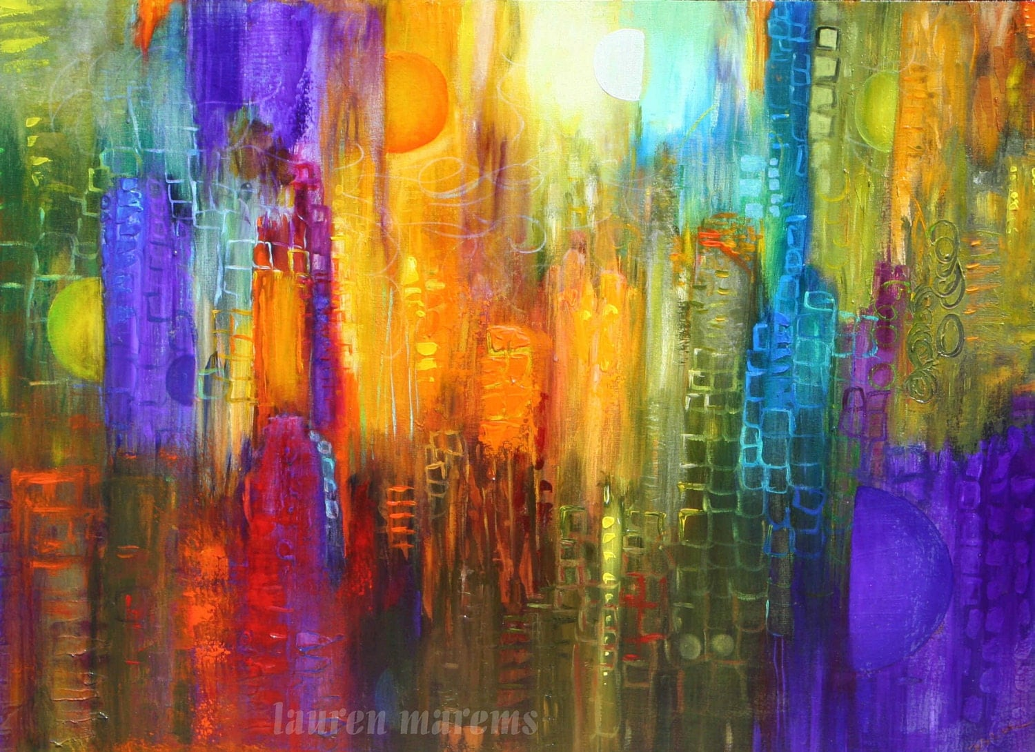 Abstract cityscape painting modern art contemporary for Contemporary mural art