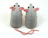 Collectable felt mice - art rats artists mice felt mouse cute soft sculpture toy stuffed plush doll ornament - Adam and Eve the Naked Mice