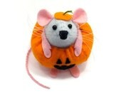 Pumpkin ornament - felt mouse cute gift for animal collector - Gourdon the Mouse Dressed as a Pumpkin - ready to ship