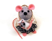 RESERVED Mother and Baby Mouse ornament  Mom Baby mice rat hamster animal lovers mothers day gift for mom