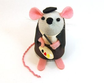 Artist Painter Mouse Ornament Artisan felt rat hamster mice cute gift animal lover or collector - Alfonso the Artist Mouse