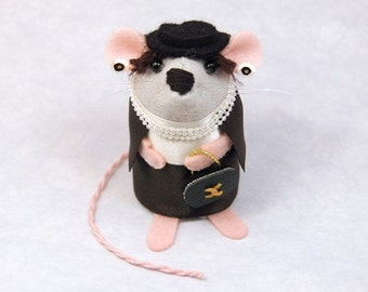 Coco Chanelo Mouse - collectable fashion art rat artists mice cute soft sculpture toy stuffed plush doll gift for wife girlfriend mom mum