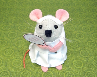 Artisan Tennis Player Mouse ornament felt rat hamster mice cute gift for sport fan animal lover by TheHouseofMouse - Anna Gorgonzola