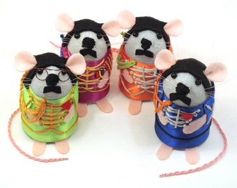 The Beatles Mice Mouse ornaments Sgt. Pepper's Lonely Hearts Club Band felt mice cute gift for the Beatles fan Beatles Gift