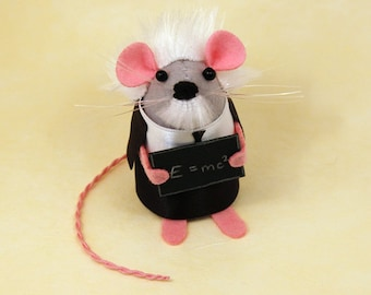 Albert Einstein Mouse - collectable art rat artists mice felt mouse cute soft sculpture toy gift for teacher mathematician scientist science